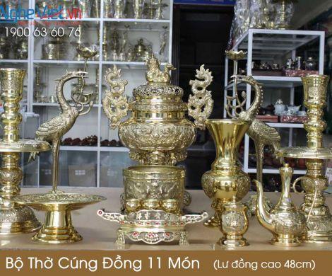 Bộ thờ cúng đồng 11 món ( Lư đồng cao 45cm )