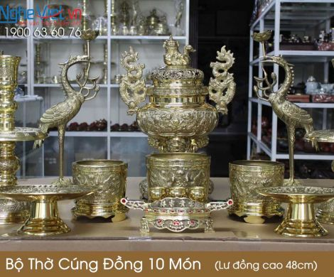 Bộ Thờ Cúng Đồng 10 Món ( Lư Đồng Cao 48cm )