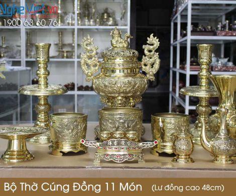 Bộ thờ cúng đồng 11 món ( Lư đồng cao 48cm ) Có 3 Bát hương