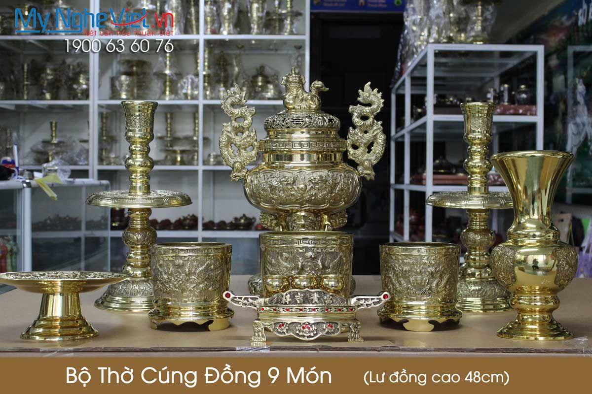 Bộ thờ cúng đồng 9 món ( Lư đồng cao 48cm )