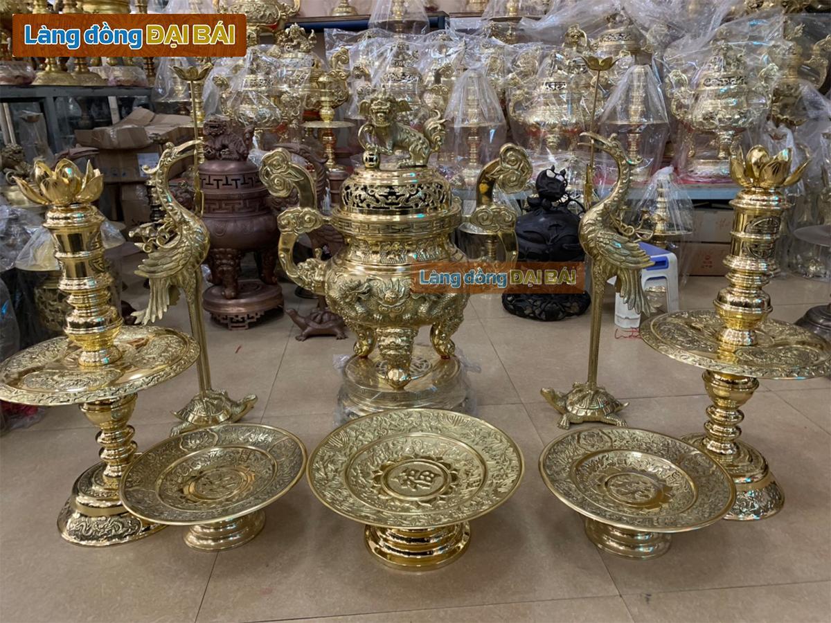 Bộ Đồ Thờ Cúng 10 món rồng phụng H90cm (81cm) + 2 hoa nến+ 2 hạc sen chùm + 3 đĩa trái cây MNV-DD18/90S-10M1