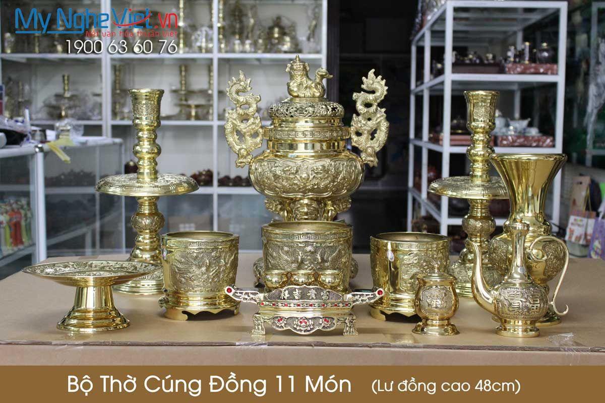 Bộ thờ cúng đồng 11 món ( Lư đồng cao 48cm )