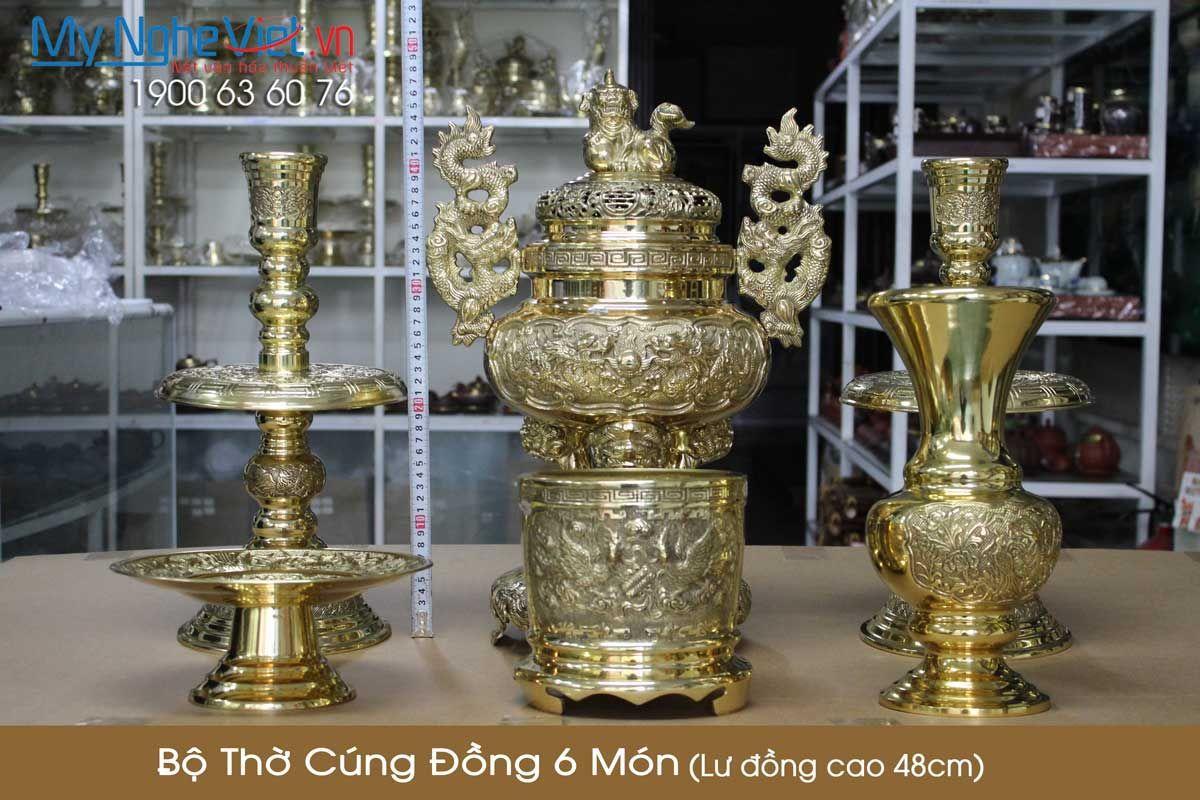 Bộ thờ cúng đồng 6 món ( Lư đồng cao 48cm )