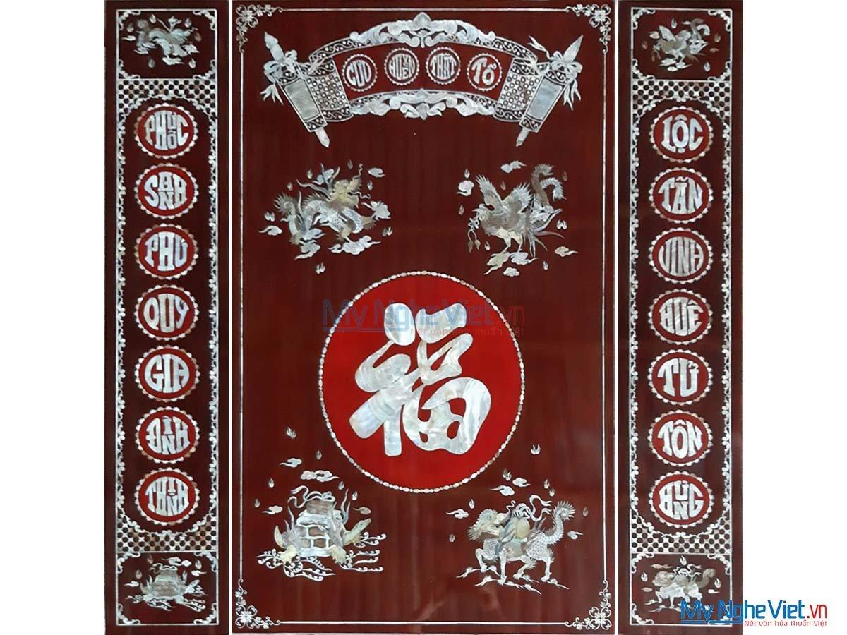 Bộ tranh Cửu Huyền Thất Tổ, Liễng thờ Cẩn Ốc Xà Cừ 1.26mx1.26m